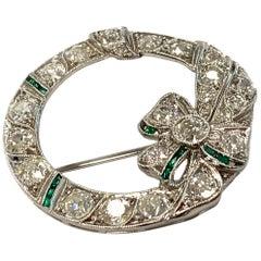 Platinum, Diamond, and Simulated Emerald Wreath Pendant-Brooch