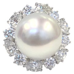 Platinum Diamond and 16.2mm South Sea Pearl Ring