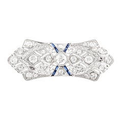 Platinum Diamond and Synthetic Sapphire Brooch