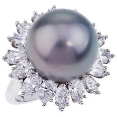 Platinum Diamond and 13.4mm Tahitian Pearl Ring