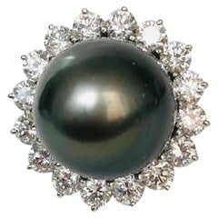 Platinum Diamond and 16.3mm Tahitian Pearl Ring