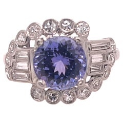 Platinum Diamond and Tanzanite Art Deco Ring