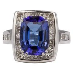 Platinum Diamond and Tanzanite Cocktail Fashion Ring