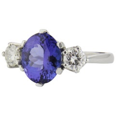 Platinum, Diamond, and Tanzanite Ring