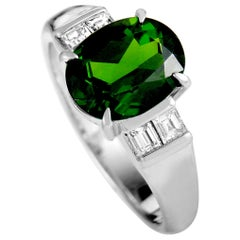 Platinum Diamond and Tourmaline Oval Ring