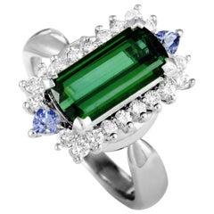 Platinum Diamond and Tourmaline Rectangle Ring