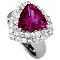 Platinum Diamond and Tourmaline Trillion Ring