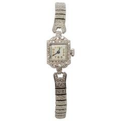 Platinum Diamond Antique Ladies Wrist Watch