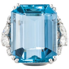 Platinum Diamond Aquamarine Ring