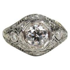 Platinum Diamond Art Deco Filigree Engagement Ring