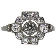 Platinum Diamond Art Deco Style Cluster Ring