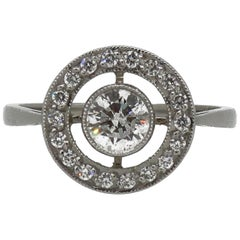 Platinum Diamond Art Deco Style Target Cluster Ring