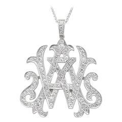 "Platinum Diamond ""AW"" Monogram Pendant"