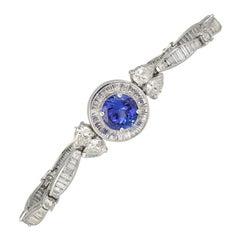 Platinum Diamond Baguette and Round Tanzanite Bracelet