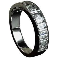 Platinum Diamond Baguette Half Eternity Ring Handmade by Matthew Cambery
