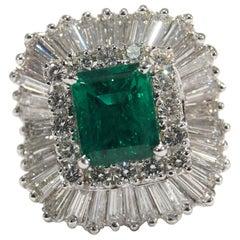 Platinum Diamond Ballerina Emerald Pendant Ring GIA Certified