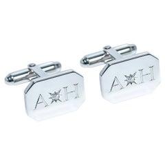 Platinum Diamond Bespoke Rectangular Initials Engraved Modern Hasbani Cufflinks