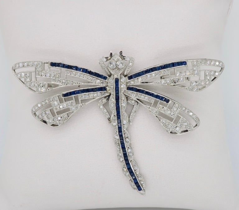 Platinum Diamond and Blue Sapphire Dragon Fly Brooch In Good Condition For Sale In Webster, NY