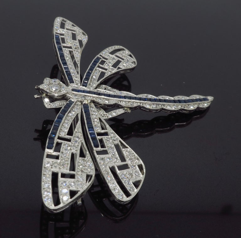 Platinum Diamond and Blue Sapphire Dragon Fly Brooch For Sale 2