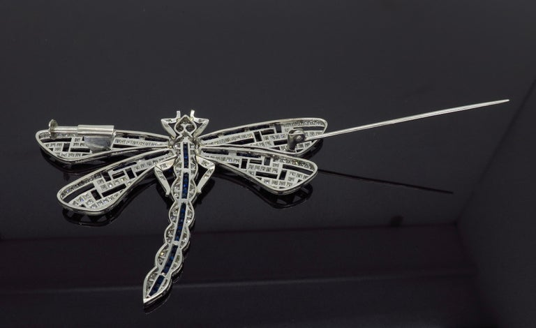 Platinum Diamond and Blue Sapphire Dragon Fly Brooch For Sale 4