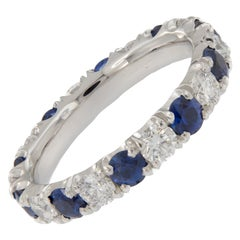 Platinum Diamond Blue Sapphire Eternity Ring