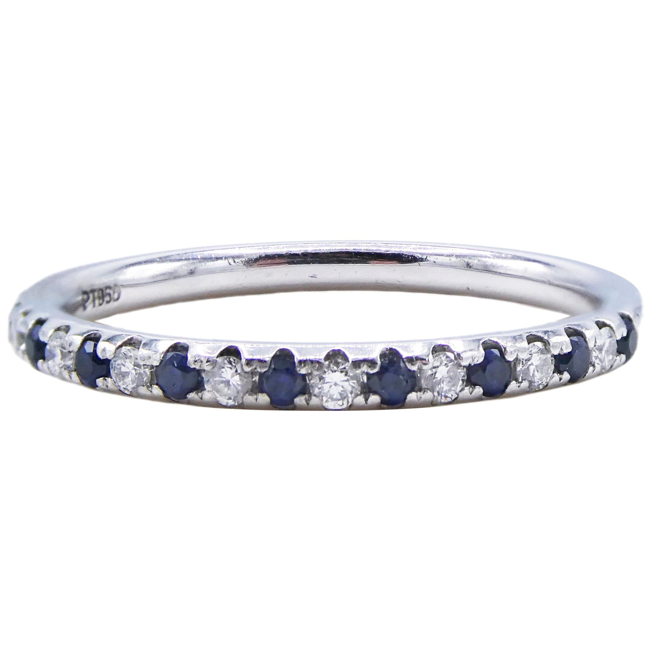 Platinum Diamond and Blue Sapphire Wedding Band Ring