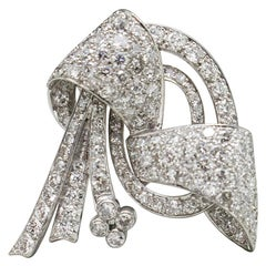 Platinum Diamond Bow Brooch