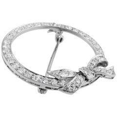 Platinum Diamond Bow Round Brooch