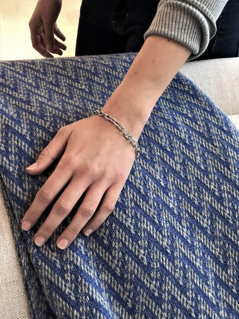 Round Cut Platinum Diamond Large Link Bracelet Weighing 12.55 Carat   For Sale