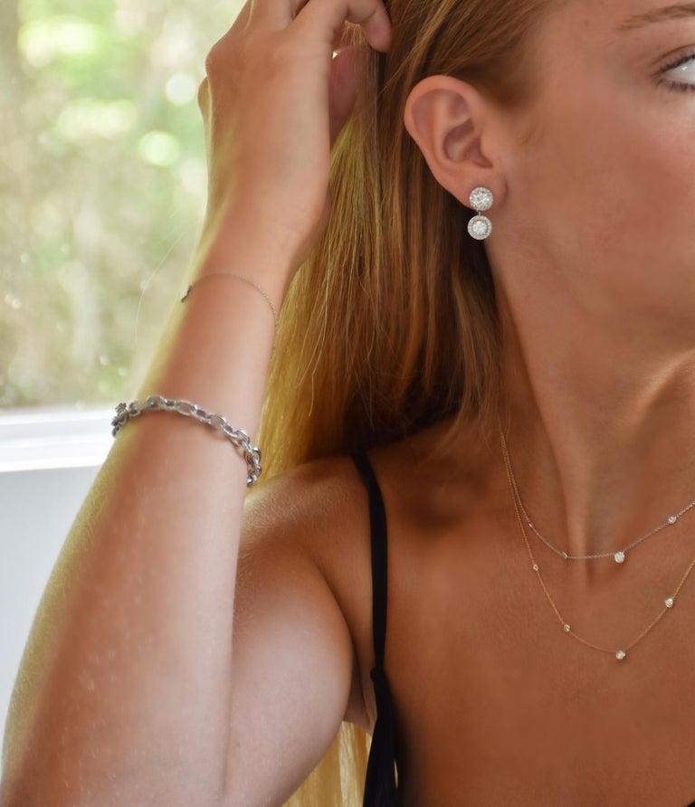 Women's Platinum Diamond Link Bracelet Weighing 12.55 Carat   For Sale