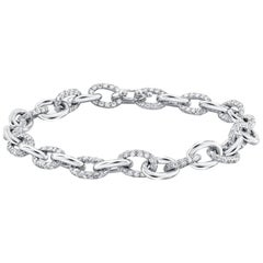 Platinum Diamond Large Link Bracelet Weighing 12.55 Carat