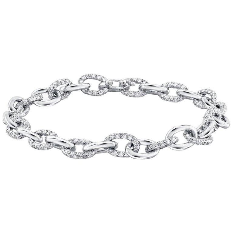 Platinum Diamond Large Link Bracelet Weighing 12.55 Carat   For Sale