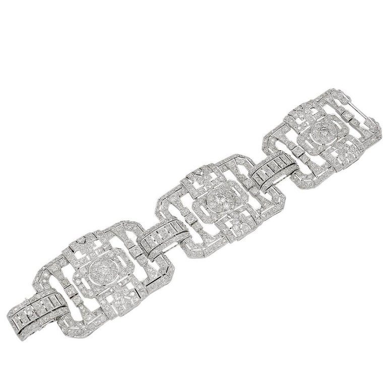 Platinum Diamond Bracelet, circa 1960s For Sale
