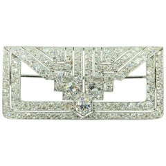 Platinum Diamond Brooch 5.64 Carat