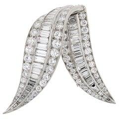 Platinum Diamond Brooch 9.00 Carat from 1950s