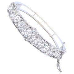 Platinum Diamond Brooch Bangle
