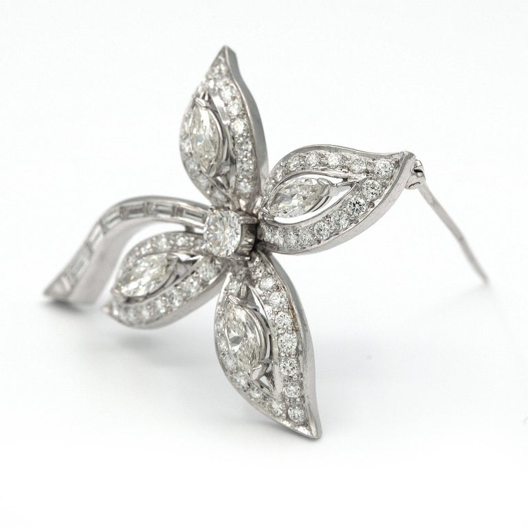 Contemporary Platinum Diamond Brooch / Pin For Sale