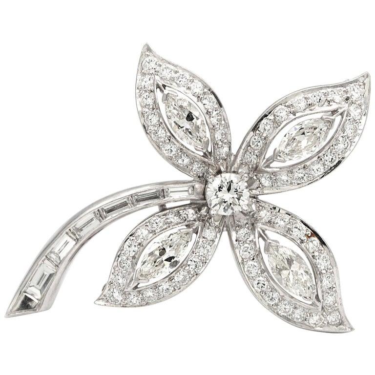 Platinum Diamond Brooch / Pin For Sale