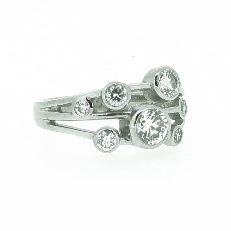 Platinum Diamond Bubble Cluster Ring In New Condition For Sale In East Grinstead, GB