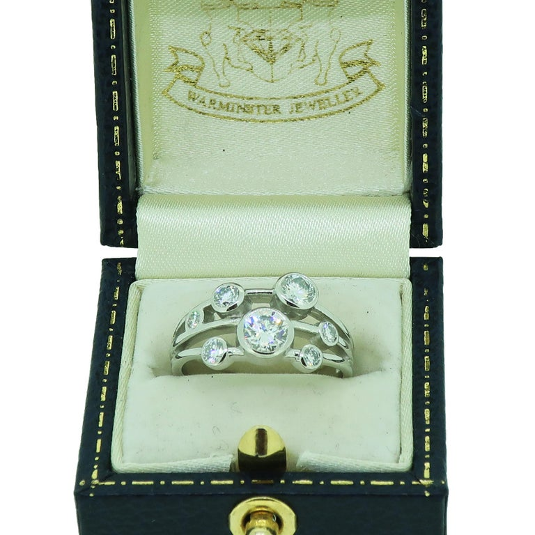 Women's Platinum Diamond Bubble Cluster Ring For Sale