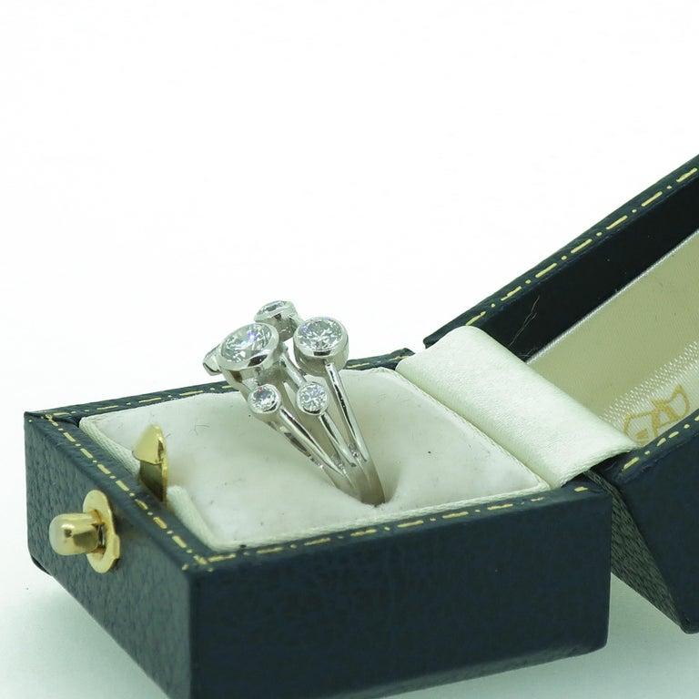 Platinum Diamond Bubble Cluster Ring For Sale 1