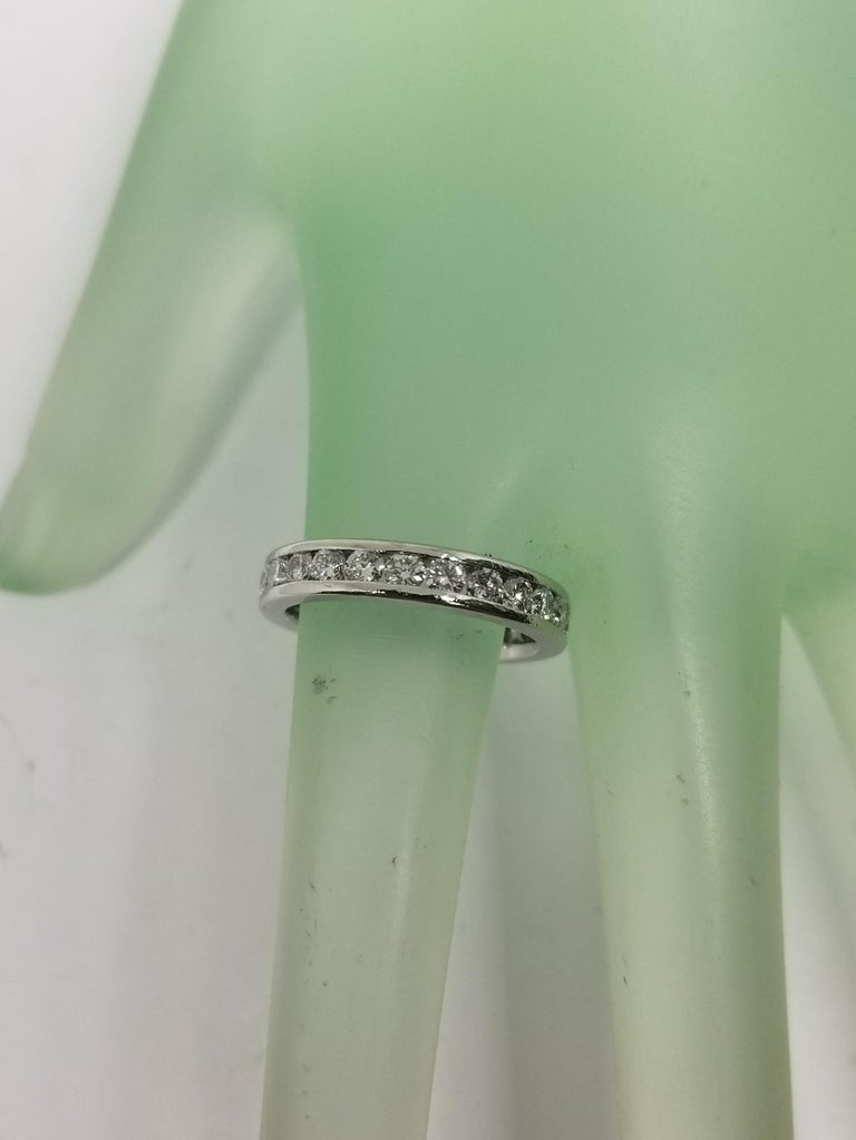 Platinum Diamond Channel Set Eternity Ring In Excellent Condition For Sale In Los Angeles, CA