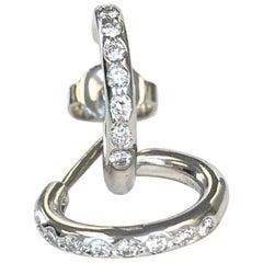 Platinum Diamond Circle Hoop Earrings