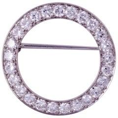 Platinum Diamond Circle Pin