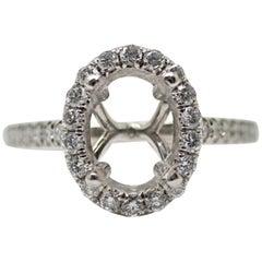 Platinum Diamond Classic Halo Oval Semi-Mounting Engagement Ring