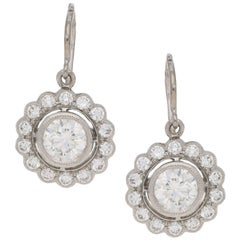 Platinum Diamond Cluster Drop Earrings