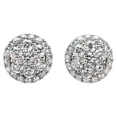 Platinum Diamond Cluster Studs by Leon Mege