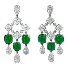 Platinum Diamond, Colombian Emerald Earrings