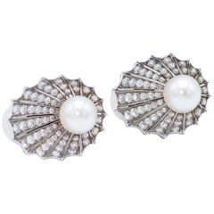 Platinum Diamond Cultured Pearl Shell Shape Earclips