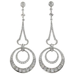 Platinum Diamond Dangle Earrings